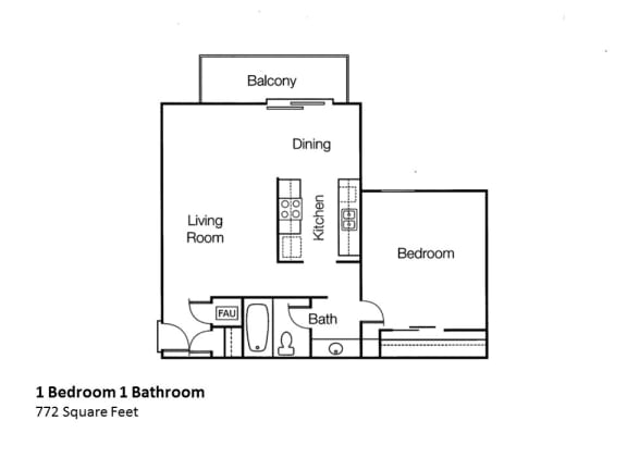 Floor Plan  One bed Monte Vista Apartments | Apartments in CA, 91750, opens a dialog.