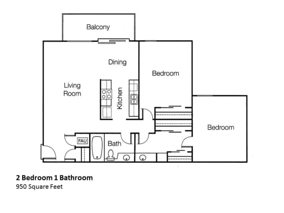 Floor Plan  Two Bedroom One Bathroom Floor Plan, at Monte Vista Apts, 91750, California, opens a dialog.
