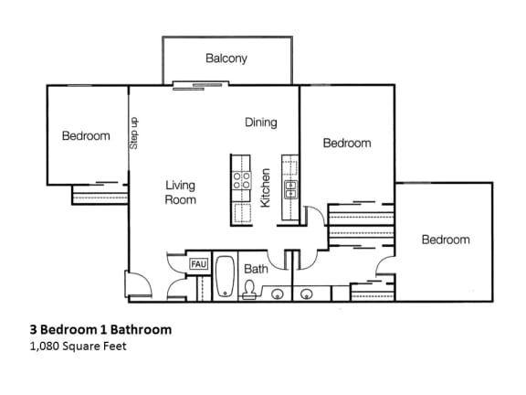 Floor Plan  3 Bedroom One Bathroom, at Monte Vista Apartments, La Verna, CA, opens a dialog.