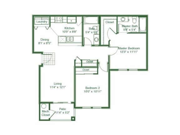 Floor Plan  2 Bedroom 2 Bath floor plan, 1,016 square feet