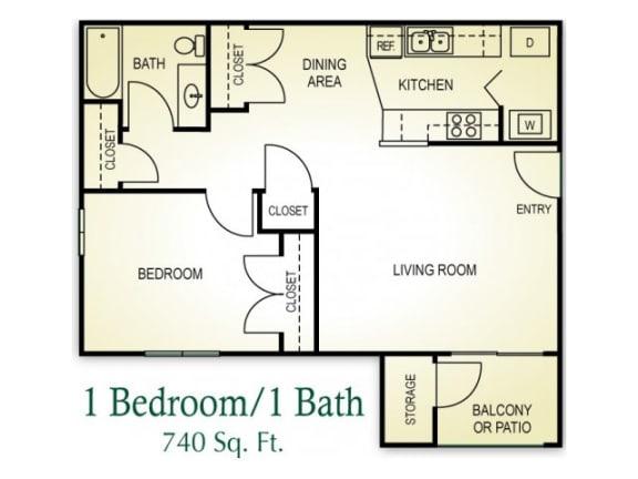 Floor Plan  1 Bedroom 1 Bath Floor plan, 740 square feet