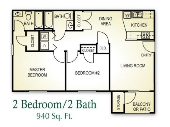 Floor Plan  2 Bedroom 2 Bath Floor plan, 940 square feet
