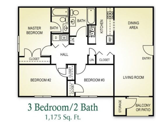 Floor Plan  3 Bedroom 2 Bath Floor plan, 1,175 square feet