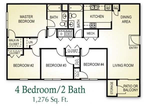 Floor Plan  4 Bedroom 2 Bath Floor plan, 1,276 square feet