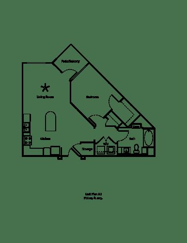 Floor Plan  One11_Corona CA_Floor Plan A3_One Bedroom One Bathroom