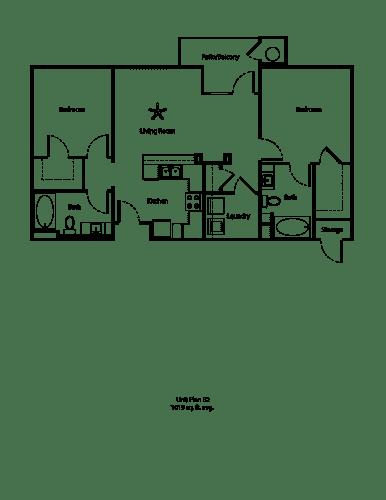 Floor Plan  One11_Corona CA_Floor Plan B2_Two Bedroom Two Bathroom