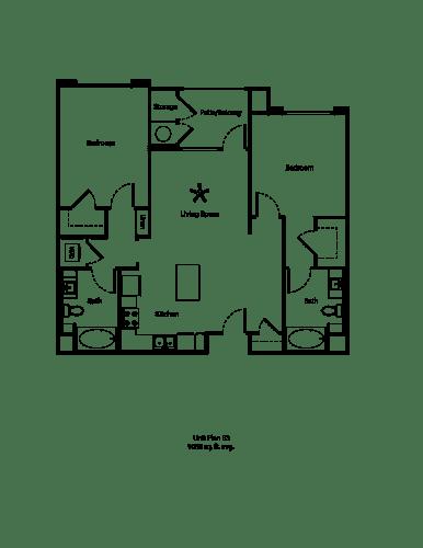 Floor Plan  One11_Corona CA_Floor Plan B3_Two Bedroom Two Bathroom