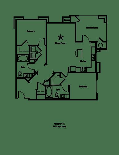 Floor Plan  One11_Corona CA_Floor Plan B4_Two Bedroom Two Bathroom