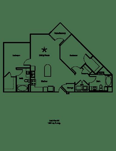 Floor Plan  One11_Corona CA_Floor Plan B5_Two Bedroom Two Bathroom