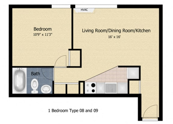 Floor Plan  Tabco Towers 1 Bedroom Floor Plan