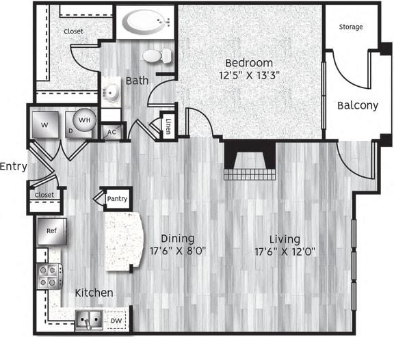 Floor Plan  One bedroom, one bathroom, Kitchen, Living room dining room, Walk in closet, coat closet, laundry room, and HVAC room. A3- LL floor plan 855 sq ft
