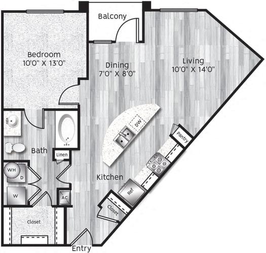 Floor Plan  One bedroom, one bathroom, kitchen, living room, pantry , coat closet, walk in closet, laundry room, utility room and patio.