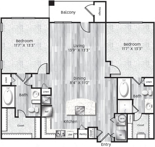 Floor Plan  Two bedroom, two bath, kitchen, pantry, coat closet, living/dining room, two walk in closets, linen closet and laundry room. B1 floor plan.