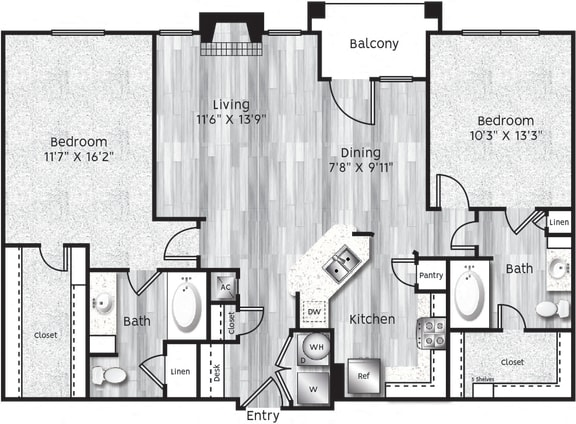 Floor Plan  Two bedroom, two bathroom,living room, dining room, kitchen, laundry room, two walk in closets. B3-LL, 1212 Square feet.