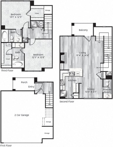 Floor Plan  Two bedroom, two bath, kitchen, pantry, coat closet, living/dining room, two walk in closets, linen closet and laundry room. B4 floor plan.