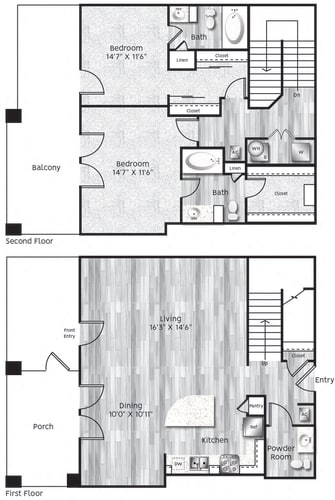 Floor Plan  Two bedroom, two bath, kitchen, pantry, coat closet, living/dining room, two walk in closets, linen closet and laundry room. B5 floor plan.