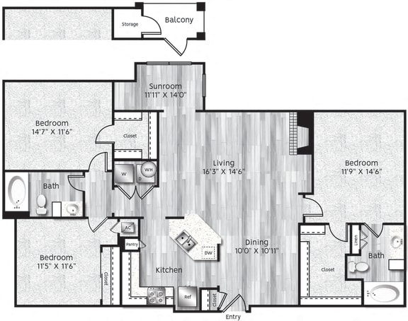 Floor Plan  Three bedrooms, two bathrooms, kitchen, dining room, living room, laundry room, patio with storage, 3 walk-in closets. C1-LL GARAGE floor plan, 1323 square feet.