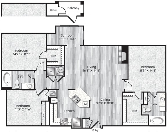 Floor Plan  Three bedroom, two bathroom, Kitchen, dining room, living room, laundry room, patio with storage, 3 walk in closets. C1-LA floor plan, 1432 square feet.