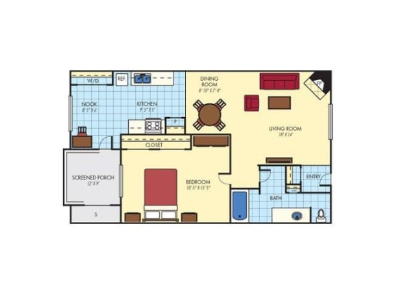 Floor Plan  One Bedroom One Bathroom, opens a dialog.