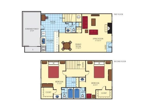 Floor Plan  Two Bedroom Three Bathroom, opens a dialog.