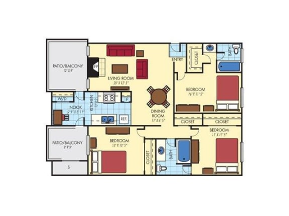 Floor Plan  3 bedroom 2 bathroom floor plan, opens a dialog.