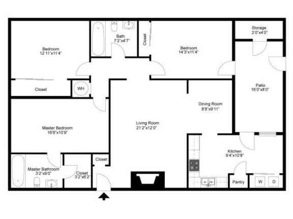 Floor Plan  Three Bedroom Two Bathroom, opens a dialog.