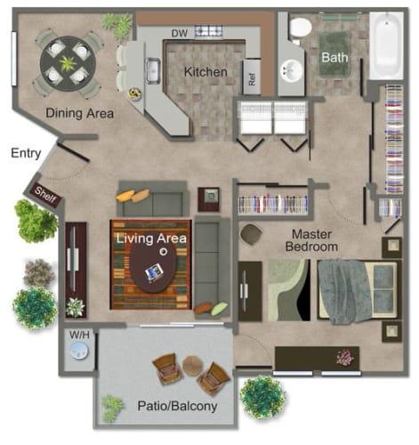 Floor Plan  Medium 1 Bed, 1 Bath Floor Plan at Renaissance Apartment Homes, California, 95404