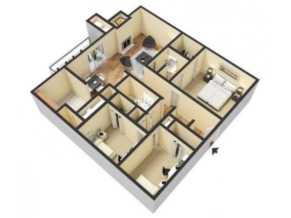 Floor Plan  3 Bedroom 2 Bathroom 3D Floor Plan