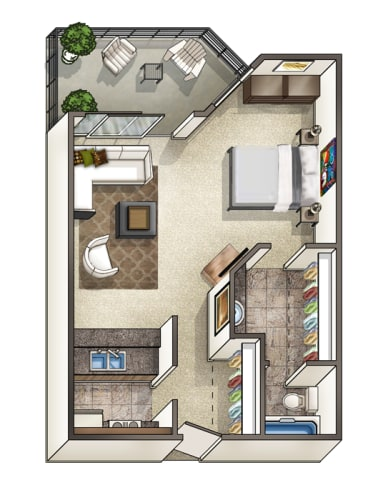 Floor Plan  Studio apartment and 1 bath 3D floor plan, opens a dialog.