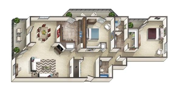 Floor Plan  2 Bedroom 2 Bathroom 3D Floor Plan, opens a dialog.