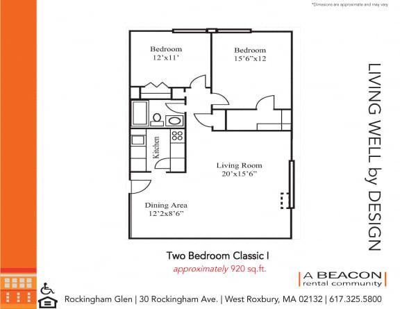 Floor Plan  Two bedroom apartment in West Roxbury, MA
