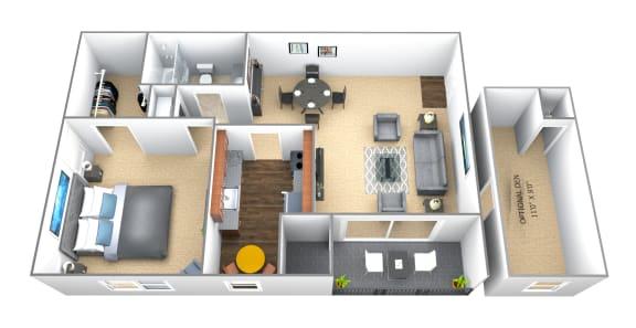 Floor Plan  1 bedroom 1 bathroom floor plan at Seminary Roundtop Apartments in Towson MD