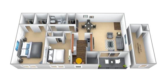 Floor Plan  2 bedroom 1 bathroom floor plan at Seminary Roundtop Apartments in Towson MD