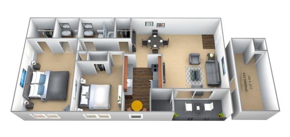 Floor Plan  2 bedroom 1.5 bathroom floor plan at Seminary Roundtop Apartments in Towson MD
