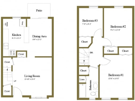 Floor Plan  Yorktowne Townhomes 3 Bedroom Floorplan