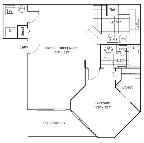Floor Plan  1 Bedroom 1 Bathroom Floor Plan at Scottsdale Horizon, Scottsdale, AZ
