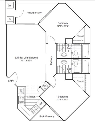 Floor Plan  2 Bed 2 Bath Floor Plan at Scottsdale Horizon, Scottsdale, 85260