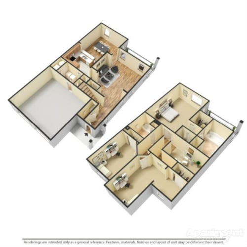 Floor Plan  Three Bedroom Townhome, opens a dialog.