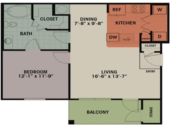 Floor Plan  1 Bedroom, 1 Bath 716 sqft A