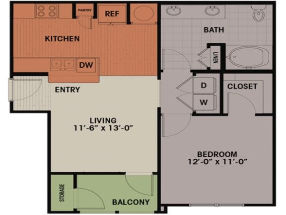 Floor Plan  1 Bedroom, 1 Bath 727 sqft A4