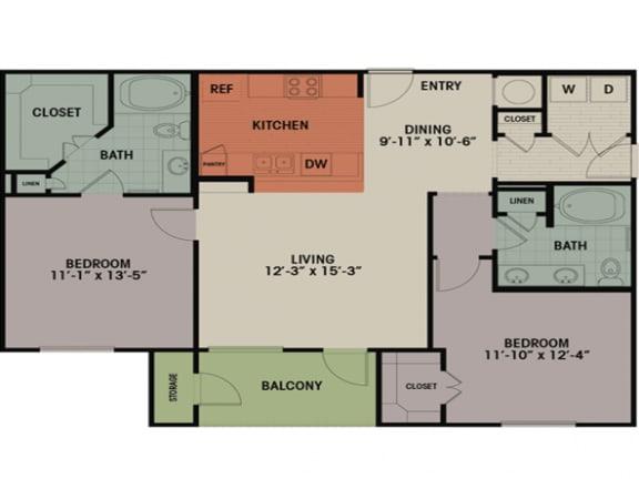 Floor Plan  2 Bedroom, 2 Bath 1165 sqft D