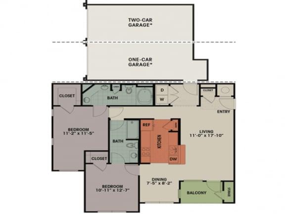 Floor Plan  2 Bedroom, 2 Bath 1165 sqft E1