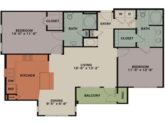 Floor Plan  2 Bedroom, 2 Bath 1215 sqft B1