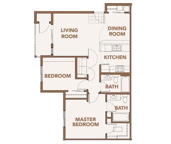Floor Plan  2 Bedroom Apts Spokane WA 99224 l Copper River Apartments For Rent