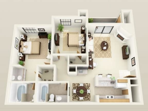 Floor Plan  NewportUpgraded1121sf FloorPlan at Sky Court Harbors at The Lakes Apartments, Las Vegas, Nevada