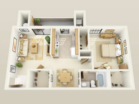 Floor Plan  WestportUpgraded720sf FloorPlan at Sky Court Harbors at The Lakes Apartments, Nevada