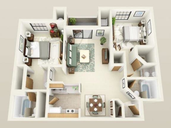 Floor Plan  Winthrop960sf FloorPlan at Sky Court Harbors at The Lakes Apartments, Nevada, 89117