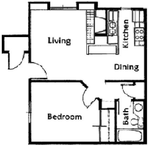 Floor Plan  Brittany Court one bedroom 2D floor plan