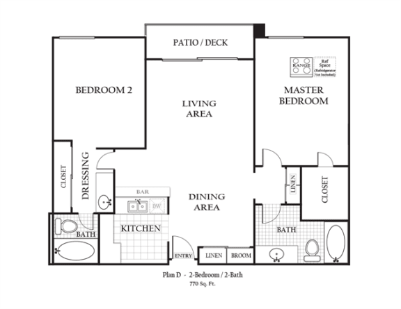 Floor Plan  Two Bedroom Two Bathroom featuring a full kitchen and bathroom approximately 770 square feet, Floorplan is an artist rendering and all dimensions are approximate, Actual units vary in dimension and detail. Not all features are available in every unit. Prices and availability are subject to change without notice. Please call a representative for details