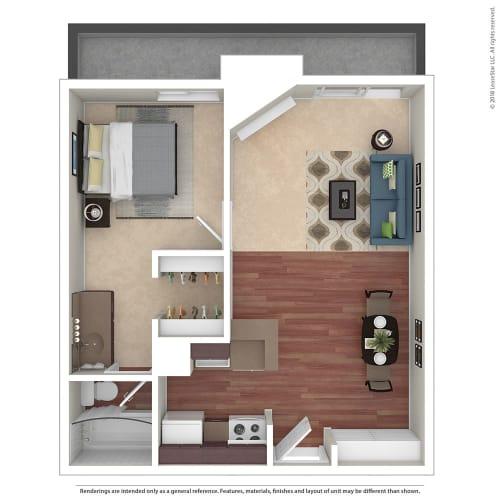 Floor Plan  1BR/1BA A 1 Bed 1 Bath Floor Plan at Chatsworth Pointe, Canoga Park